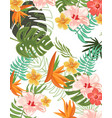 tropical flowers graphic design for t-shirt vector image vector image