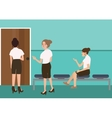 woman waiting in uniform for interview job sitting vector image vector image