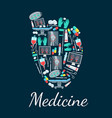 human heart poster with medical and surgery icons vector image