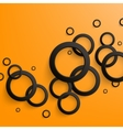Abstract black paper circles on bright orange vector image