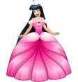 Asian Princess in Pink Dress vector image vector image