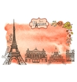 Autumn ParisLandmarksleaveswatercolor splash vector image vector image