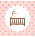 Baby crib icon on floral pattern vector image vector image