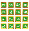 building vehicles icons set green vector image vector image