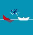 businesswoman escaping sunken paper boat ship vector image vector image
