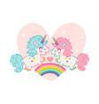 card cute unicorns vector image vector image