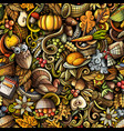 cartoon cute doodles hand drawn happy thanksgiving vector image vector image