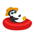 cartoon penguin in hat swimming in rubber ring vector image vector image