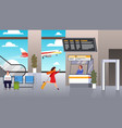check in airport woman runs with suitcase vector image vector image