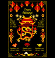 chinese new year banner with festive temple pagoda vector image vector image