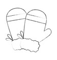 christmas gloves decorative icon vector image