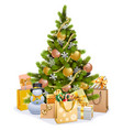 christmas tree with golden decorations vector image