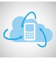 cloud technology cellphone mobile media icon vector image vector image