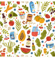 colorful hand drawn vegan food drink and herbs vector image vector image