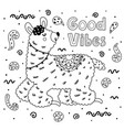 coloring page with cute llama black and white vector image vector image
