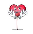 crazy heart lollipop mascot cartoon vector image
