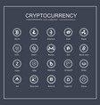 cryptocurrency blockchain icons a black vector image vector image