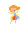 cute beautiful little winged fairy lovely redhead vector image vector image