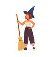 cute girl in witch hat standing with a broomstick vector image vector image