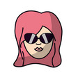 cute woman face with hairstyle and sunglasses vector image