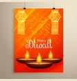 diwali festival flyer design with diya fireworks vector image vector image