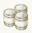 drawing wood barrel vector image vector image