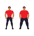 Fat vs slim man Healthy Sport athletic body vector image