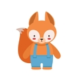 Fox In Blue Pants With Suspenders Cute Toy Baby vector image vector image