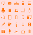 Gadget color icons on orange background vector image vector image