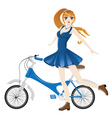 Girl with Bicycle3 vector image vector image