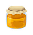 glass jar of sweet honey natural and healthy vector image vector image