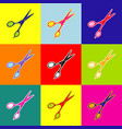 hair cutting scissors sign pop-art style vector image
