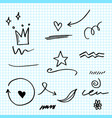 hand drawn set elements on paper arrow heart vector image vector image