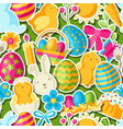 happy easter seamless pattern with holiday vector image vector image