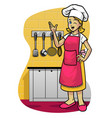 happy women wearing apron in kitchen vector image vector image