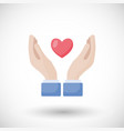 heart in hands flat icon vector image vector image