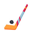 hockey stick and puck winter sport equipment vector image