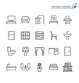 home furniture line icons editable stroke vector image vector image