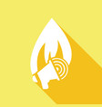 icon fire warning with a long shadow vector image