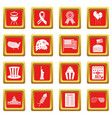 independence day flag icons set red vector image vector image