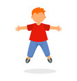 kid boy jump icon flat style vector image