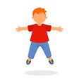 kid boy jump icon flat style vector image