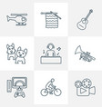 lifestyle icons line style set with cinema vector image