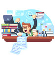 man overwork in office deadline vector image vector image