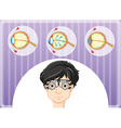 man with eyeglasses and eyes problem vector image