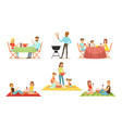 men and women on barbecue and picnics vector image vector image