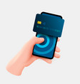 mobile banking app and e-payment hand with vector image vector image