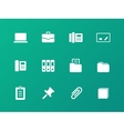 Office icons on green background vector image
