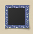 paper color photo frame boy portrait blue sea vector image vector image