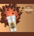 paper cut takeaway coffee poster template vector image vector image